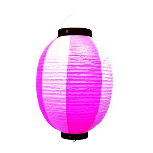 提灯・提燈(ちょうちん) 9173 祭装飾 ピンク白 9号丸