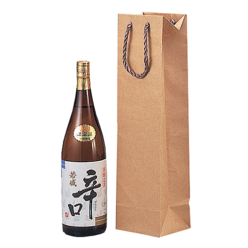 (K-1002)一升瓶1本用手提袋 未晒クラフト 100枚