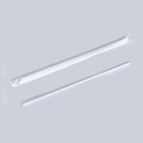 ★紙袋入 紙ストロー(6×197)白 500本