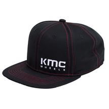 KMCロゴ入り マイクロメッシュキャップ  ブラック(レッドステッチ入り)