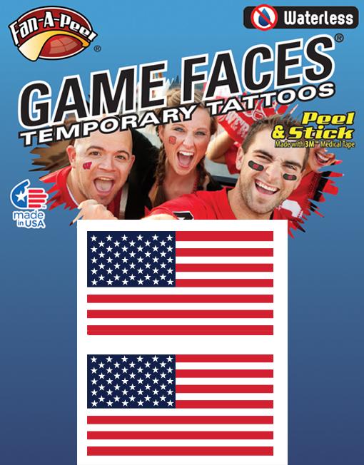 剥がして貼るだけ! FAN A PEEL フェイスシール アメリカ USA 星条旗 ノーマルタイプ 送料無料!