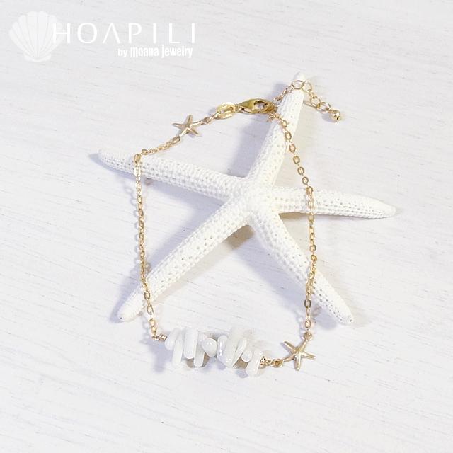 hp_a6 14KGF ターコイズとヒトデのアンクレット White Coral&Sea Star