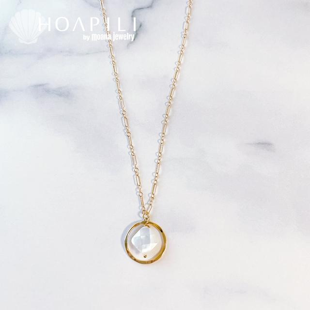 hp_n128 14KGF製 ダイヤカット マザーオブパール ネックレス Lino