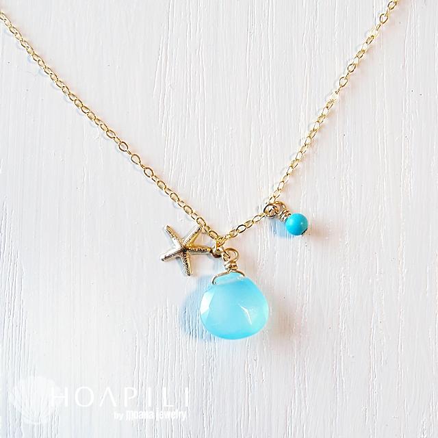 hp_n34 ヒトデと上質な天然石の14KGFのネックレス Sea Glass&Sea Star