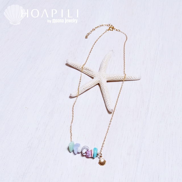 hp_n36 天然石&天然シェルデザインの14KGFネックレス Pastel Beach