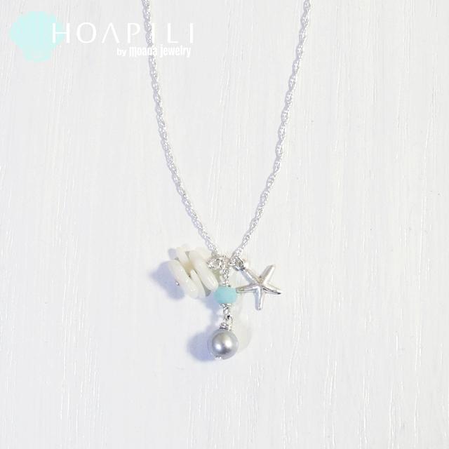 hp_n62 天然グレーパールと珊瑚のSV925ネックレス Salt Life