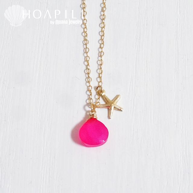 hp_n81 フューシャピンクがキレイな上質天然石の14KGFネックレス Fuchsia pink