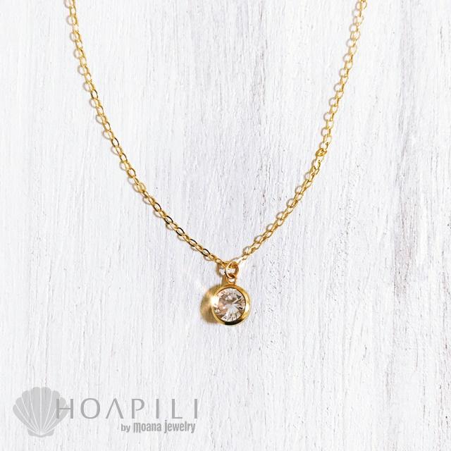 hp_n92 14KGF製 高品質なキュービックジルコニアが胸元で輝くネックレス Diamond Sea