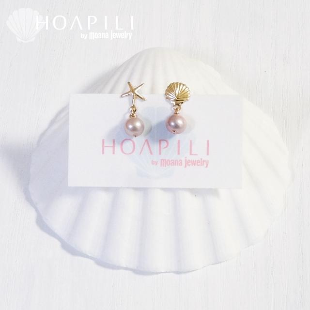 hp_p112 天然ピンクパープルがきれいな淡水パールの14KGFピアス  Fresh Water Pearl&Sea Shell&Sea Star