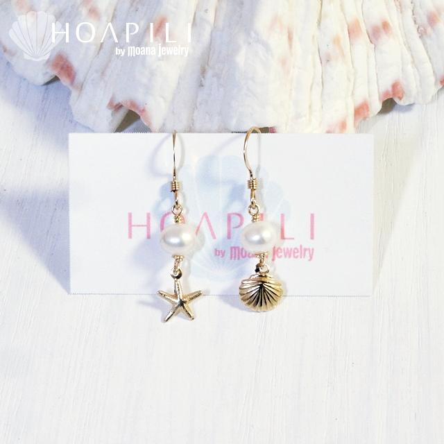 hp_p129 小さい14KGFピアス  White Fresh Water Pearl&Sea Shell&Sea Star