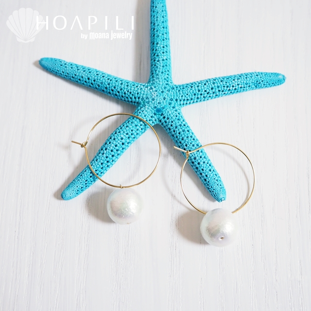 hp_p155 14KGF製 フープピアス Cotton Pearl