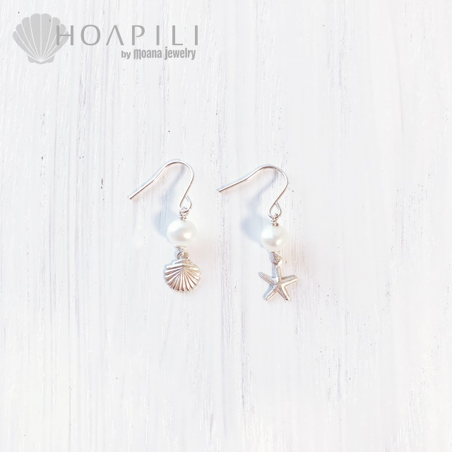 hp_p196 小さいSV925ピアス White Fresh Water Pearl&Sea Shell&Sea Star