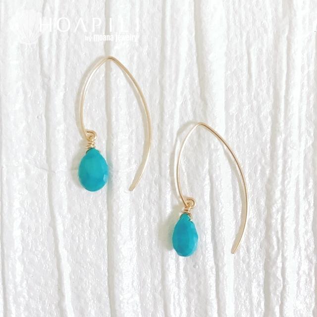 hp_p221 限定品 宝石として扱われているアリゾナ産ターコイズ 14KGF製Vフックピアス  Sleeping Beauty Turquoise