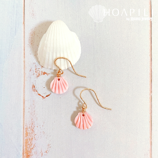 hp_p252 14KGF ピンクシェルのピアス Pink Shell