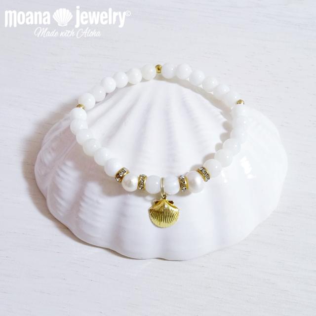 moana_b58 マザーオブパール、淡水パールのブレスレット Shell
