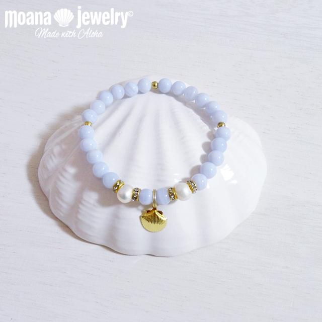 moana_b59 ブルーレース、淡水パールのブレスレット Shell