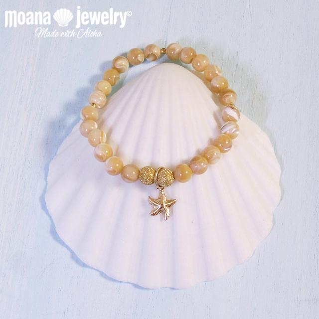 moana_b95 14KGFチャームのマザーオブパールブレスレット  Mother Of Pearl&Sea Star