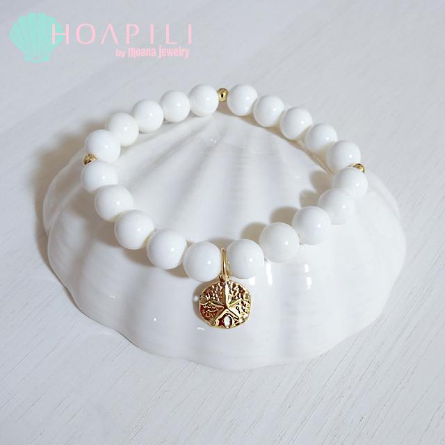 moana_hp14kgfb7 14KGFのSAND DOLLARチャームが揺れるブレスレット☆ White Shell