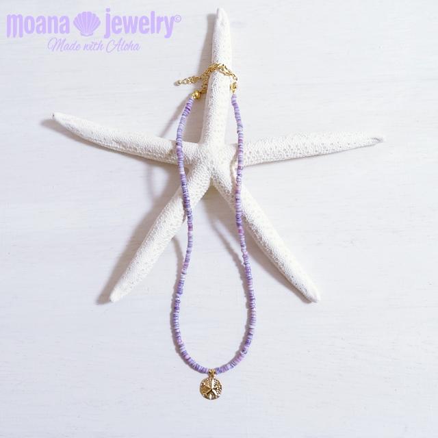 moana_n18 14KGFのサンドダラーチャームが輝く海を感じるパープルシェルのネックレス Sand dollar