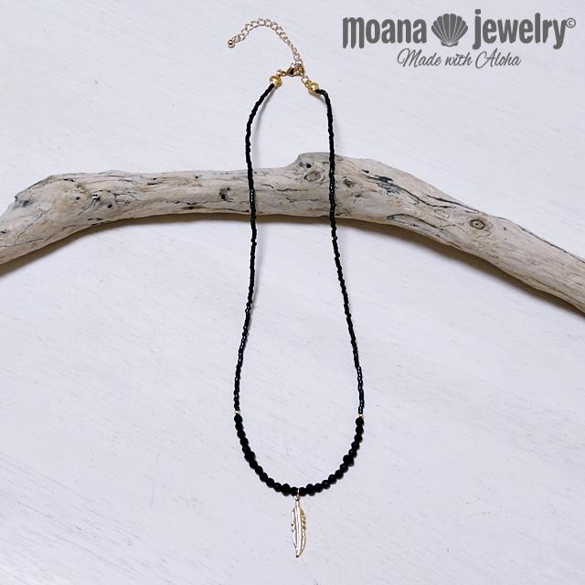 moana_n27m ブラックオニキス・ブラックスピネルのネックレス (Mサイズ) Black Feather