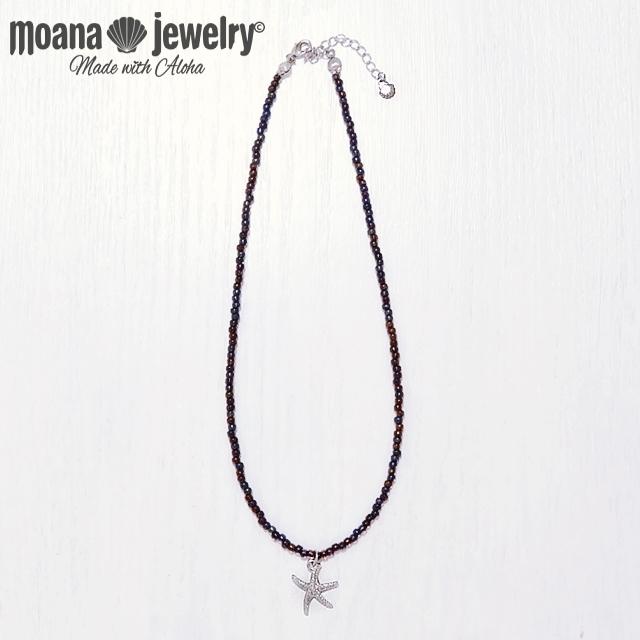 moana_n42 ブラックパールカラーのビーズネックレス Sea Star
