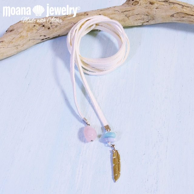 moana_n52 Deerskin(鹿革)のロングチョーカー(ラリエット) Long Choker White