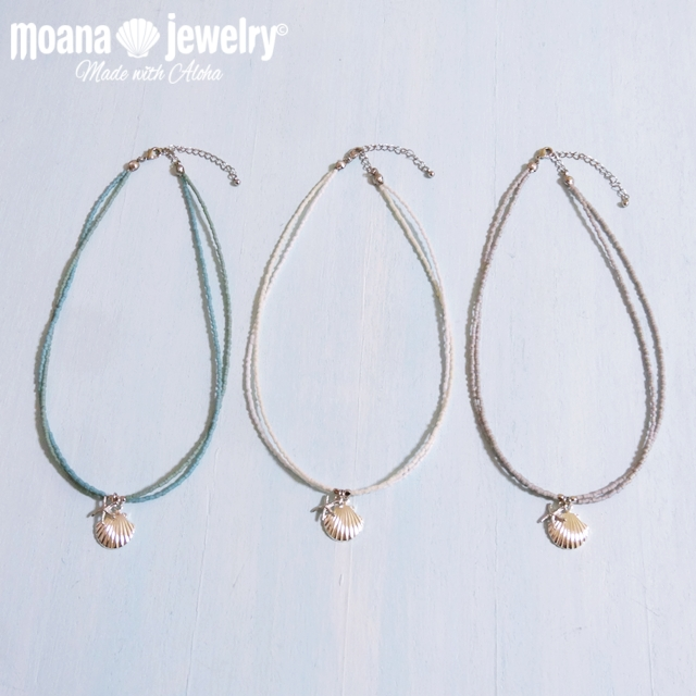 moana_n60 二連ビーズネックレス Sea Shell with Sea Star