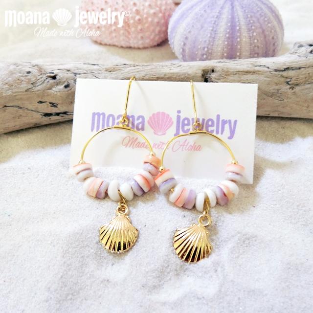 moana_p131 HawaiiのプカシェルとヒーシーShellのフープピアス Shells