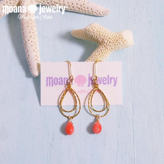 moana_p242 ワイヤーダブルドロップフープピアス Coral