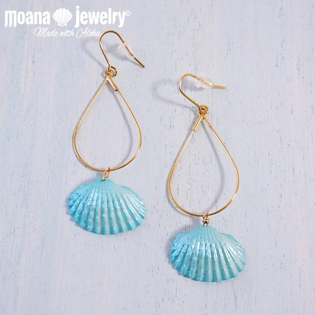 moana_p244 シェルのドロップフープピアス Aqua Shell