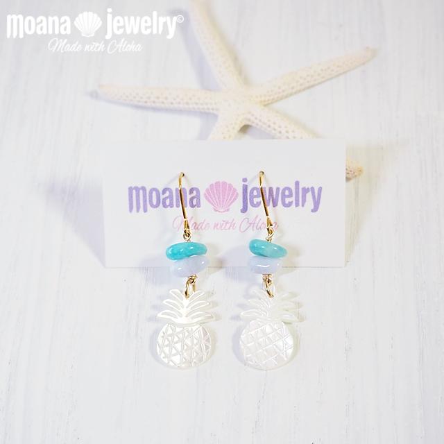 moana_p253 白蝶貝のパイナップルピアス Pineapple