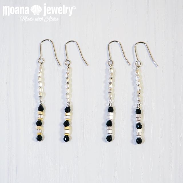 moana_p257 ブラックオニキスとメタリックロングピアス Precious