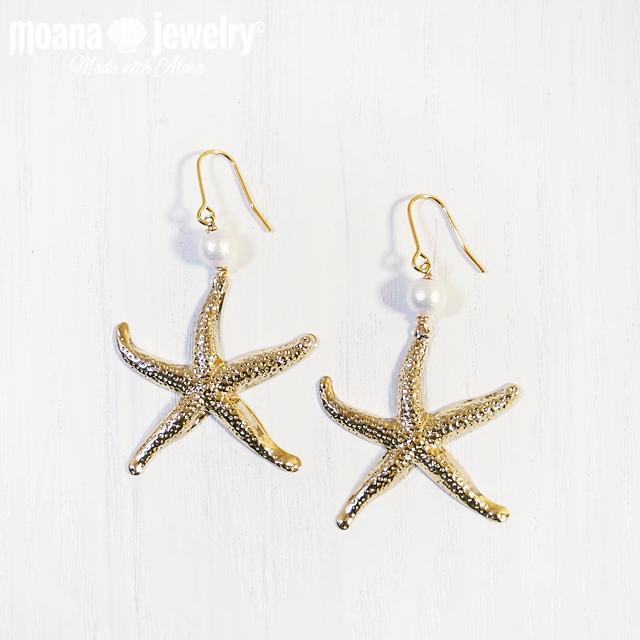 moana_p275 ヒトデとコットンパールのピアス WhitePearl&Sea Star