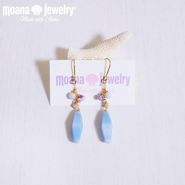 moana_p290 シェルと天然石が揺れるピアス  Beach Blue