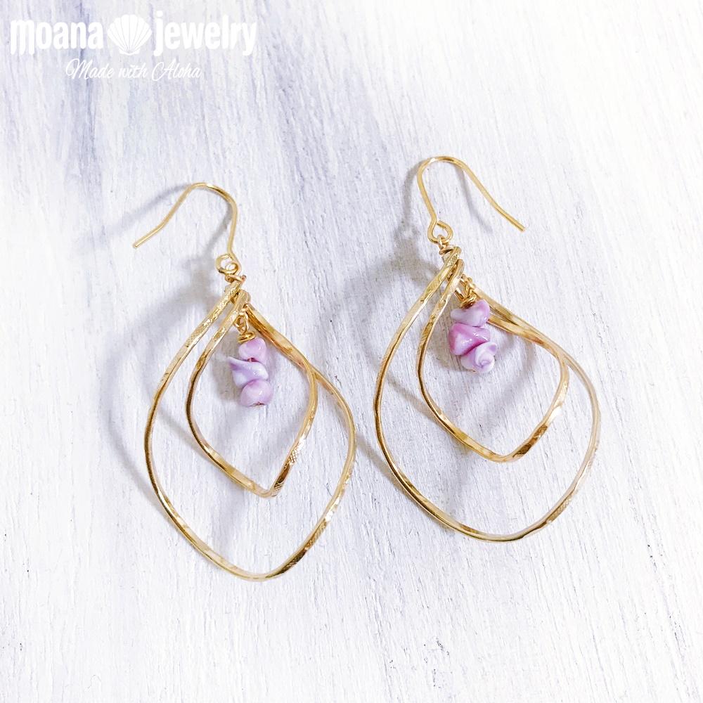 moana_p295 ゴールドツイストダブルドロップピアス Lavender Shells