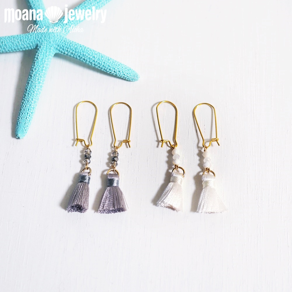 moana_p304 U字フックピアス Beads&Tassel