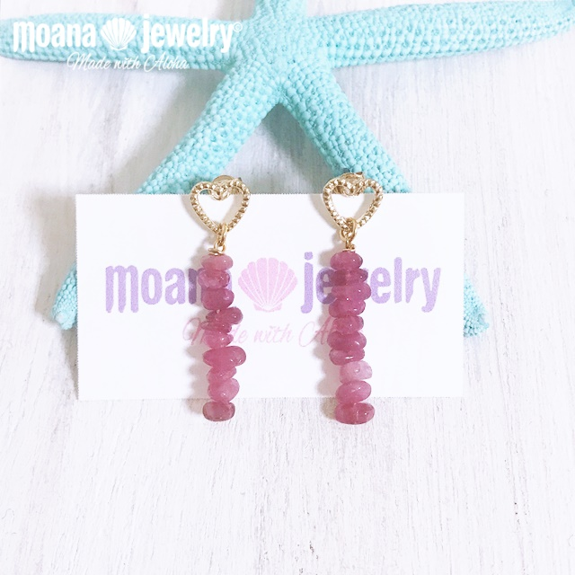 moana_p319 愛と癒しの石ピンクトルマリンのピアス LOVE