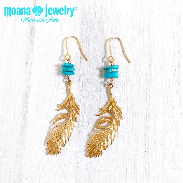 moana_p323 ターコイズとフェザー(羽根)のピアス Turquoise×Feather
