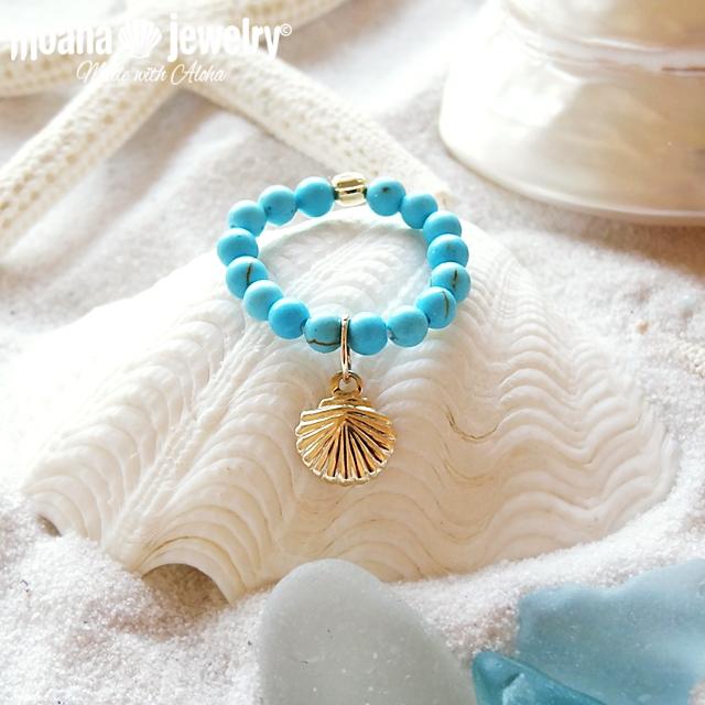 moana_r17  いつでも海を感じるシェルリング Turquoise