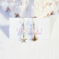 hp_p129 小さい14KGFピアス  White Fresh Water Pearl&Sea Shell&Sea Star