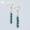 hp_p152 14KGF 耳元で天然ターコイズがゆらゆら揺れるロングピアス Lapis lazuli&Turquoise