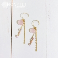 hp_p227 14KGF ロングピアス Pink Sea Glass