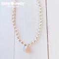 moana_n78 ドロップ ペアシェイプ ピーチムーンストーン ミルキーベージュカラージェード ネックレス Peach Moon Stone