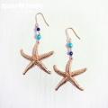 moana_p299 ターコイズとラピスラズリのヒトデピアス Underwater Seastar