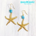 moana_p313 ヒトデとターコイズのピアス Turquoise&Sea Star