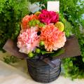 【母の日ギフト】ピンク&オレンジのカーネーションアレンジメント
