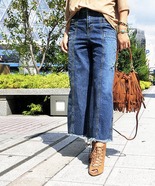 【SALE】ヴィンテージ風ダメージワイドデニムパンツ
