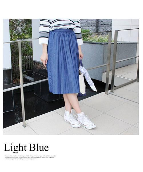 【SALE】デニム プリーツスカート /3カラー