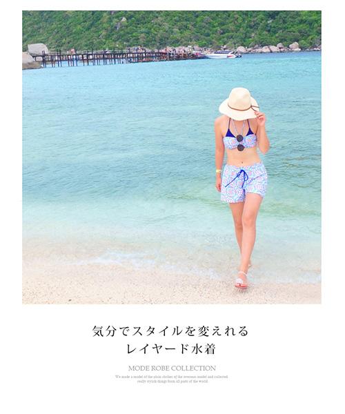 【SALE】水彩タイル バンドゥ ビキニ 4点セット水着