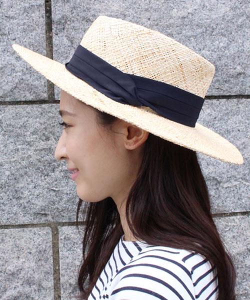 【SALE】ツイストリボン カンカン帽  ストローハット